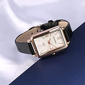 Ladies Watches,Rectangular Rose Gold Case with Leather Strap Quartz Luxury Simple Casual Design,White Dial Fashion Dress Watches for Ladies