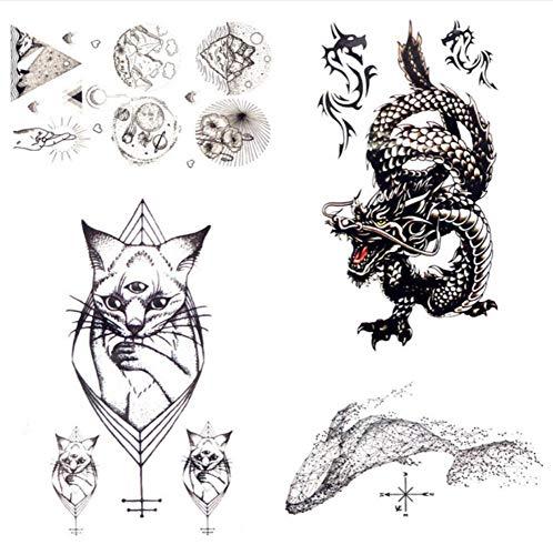 ruofengpuzi 1 stück brüllender Drache geometrische Katze wasserdichte Tattoo Aufkleber weibliche körper arm Art schwarz temporäre tätowierung Mann Skizze kleine Tattoo ()