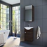 Planetmöbel Badmöbel Set Waschtisch + Waschbecken + Spiegelschrank Gäste Bad WC (Wenge)