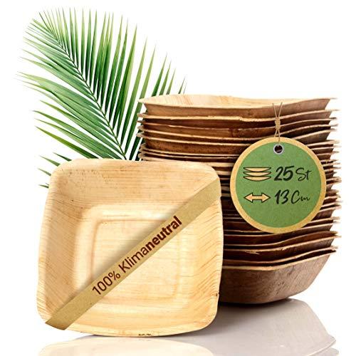 palmenwald© 25 Stück kompostierbares Einweggeschirr aus umweltfreundlichen Palmblättern - 100{5e33638bc08cbca2a997d6c81e2b20e5a00bebf0cbe52a23e93e6f0ea1a1861f} plastikfrei| 13cm (340ml) | Salatschüssel Suppenschale Servierschale Snackschale Einwegschale