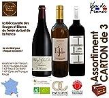 Assortiment de 3 Vins, 2 Rouges 2017 et 1 Blanc 2018 - AOC Faugères BIO, IGP Pays d'OC et IGP Cotes de Thongue 75 cl - Vin du Sud de la France Languedoc Hérault