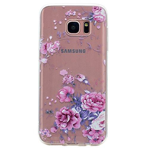 Preisvergleich Produktbild Samsung Galaxy S7 Hülle , Leiai Pinke Rose TPU Transparent Weich Tasche Schutzhülle Silikon Handyhülle Stoßdämpfende Clear Schale Fall Case Shell für Samsung Galaxy S7