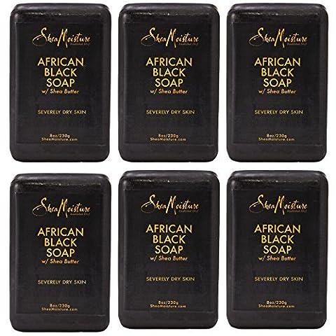 SheaMoisture Organic African Black Soap Bar w/Shea Butter 8oz (pack of 6) by Shea Moisture