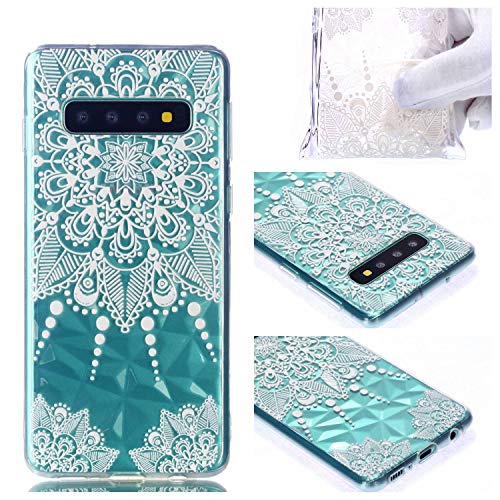 BONROY Coque Samsung Galaxy S10 Clair, Souple Clair TPU Silicone/Housse Bumper, [Shock-Absorption] Anti-dérapante Cover Samsung Galaxy S10-(Motif de Diamant-Pointer Mandala)