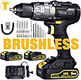 Cordless Drill Brushless, TECCPO 18V Cordless Drill Driver 60Nm with 2 Batteries 2.0Ah