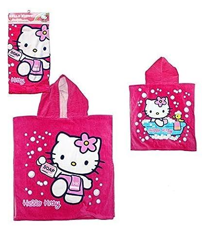 Hello Kitty Kinder Kapuzen Poncho Handtuch - Fuchsia, baumwolle