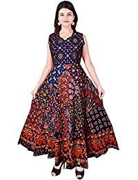 JWF Women's One Piece Jaipuri Print Cotton Long Dress - Free Size Pure Cotton Women's Maxi Long Dress