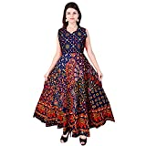 #6: JWF Women's Long Dress Midi Jaipuri Print Cotton Maxi (Multicolor, up to 44-XXL,Free Size)
