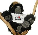 Gorila de peluche (juguete) con Amo Russel en la camiseta (nombre de pila/apellido/apodo)