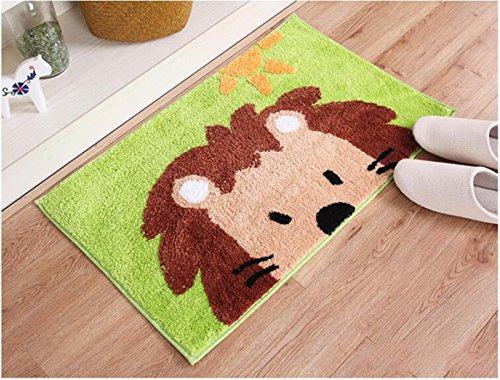 haply Cute Animal handgefertigt Badteppich Teppiche für Kinder Waschbar, rutschhemmenden Boden Teppich WC/Foyer Matten klein, löwe, 18