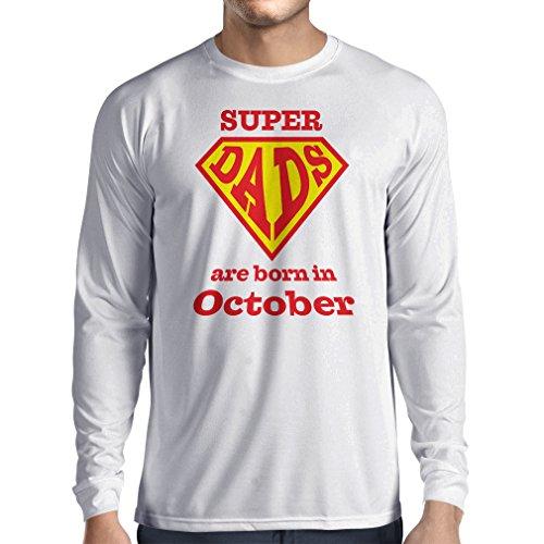 """T-Shirt mit langen Ärmeln """"Super-Väter sind im Monat Oktober geboren"""" Geburtstags-T-Shirts Geschenke Weiß Mehrfarben"""