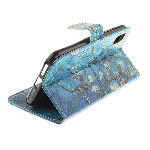 iPhone X Hülle,Vandot 3D Magnetverschluss Schutzhülle Weich PU Leder Flip Tasche Handyhülle Case mit Integrierten Kartensteckplätzen und Ständer für iPhone X (iPhone 10 5,8 Zoll) Innen TPU Silikon Cov Blau Blumen Baum