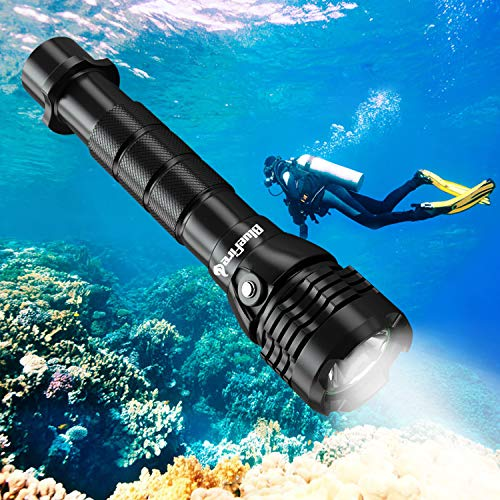 Taschenlampe, 2000 Lumen XHP-50 LED Tauchlampe mit 2*26650 Batterien und ladegerät, Professionelle Super Hell Tauchen Taschenlampe, Unterwasser 150m Sicherheit Unterwasser Lampe ()