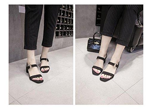 Metal Resistentes Ol 34 Pbxp Deslizamento Sapatos Sandálias Elegante Férias Camurça De 39 Ocasional Fivela Pedaços Praia Salto Preto Médio Cinto De AdzqwxdCP