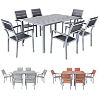 Miweba Bermuda Polywood 6+1 Aluminium Sitzgarnitur 150x100 Alu Gartenmöbel  6 Stühle Sitzgruppe Tisch Holz