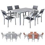 Miweba Bermuda Polywood 6+1 Aluminium Sitzgarnitur 150x100 Alu Gartenmöbel 6 Stühle Sitzgruppe Tisch Holz Gartenset (Schwarz)