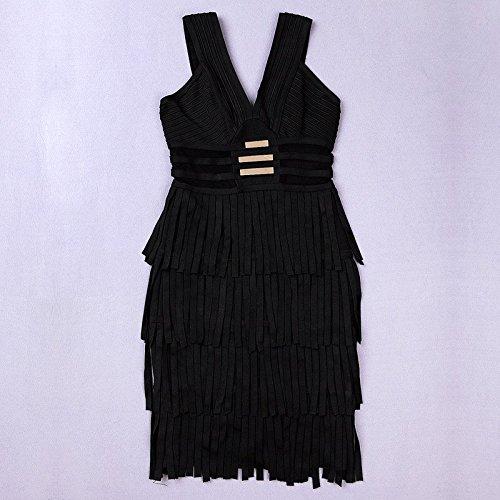 HLBandage Deep V Neck Fringe Mesh Metal Rayon Mini Bandage Dress Noir