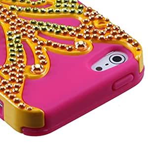 MyBat Apple iPhone 5s/5 Butterflykiss Hybrid Phone Protector Cover with Diamonds - Retail Packaging - Yellow/Hot Pink
