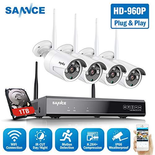 WLAN Überwachungskamera Set,SANNCE 1080P 8CH Wireless NVR + 4x960P Kabellose Outdoor Außen Überwachungskamera mit 1TB Festplatte Fernzugriff Bewegungserkennung Nachtsicht bis zu 30 Meter -