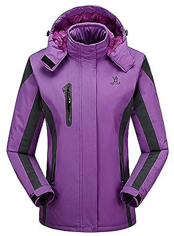 Damen Snowboard-Jacke mit Kapuze Fleecegefütterte Skijacke Windjacke für Winter
