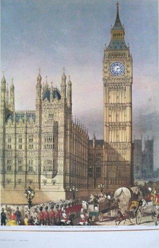 Uhrturm Häuser des Parlaments Promenade Poster 76cms von 50cms Hanhart