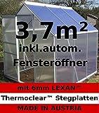 3,7m² ALU Gewächshaus, 6mm Hohlkammerstegplatten, Fenster + auto. Fensteröffner (AS-S)