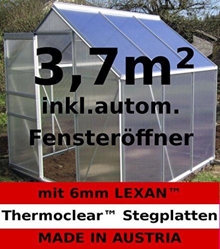 3,7m² ALU Aluminium Gewächshaus Glashaus Tomatenhaus, 6mm Hohlkammerstegplatten – (Platten MADE IN AUSTRIA/EU) mit 1 Fenster und autom. Fensteröffner von AS-S