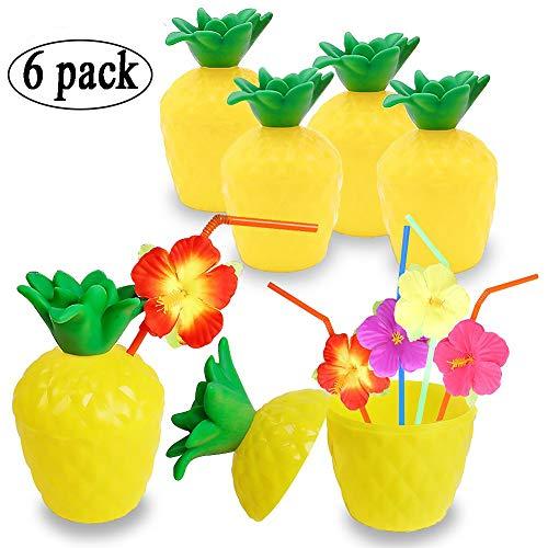 xiaoHannaw Hawaii-Partybecher, 6 Stück, 454 ml, Ananasbecher mit Blumenstrohhalmen, für den Sommer, Hawaii-Party, lustige Früchtebecher aus Kunststoff, für Strand und Pool - 6 Pcs Pineapple Cups