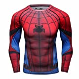 Cody Lundin Männer Superhelden Serie Party Shirt männlich Motion Joging Party im Freien Stil Sport Long Sleeve (Spider C, M)