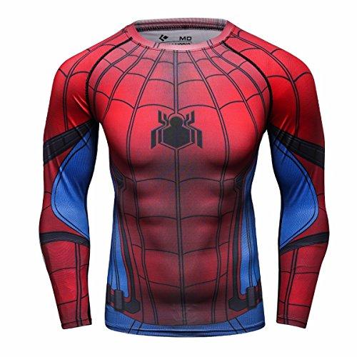 Cody Lundin Männer Superhelden Serie Party Shirt männlich Motion Joging Party im Freien Stil Sport Long Sleeve (Spider C, (Superhelden Shirts)
