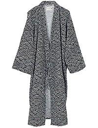 bf50de1fecfc Yukata hommes sombres ondulés robes kimono robe khan vêtements en sourdine  pyjamas - Noir Blanc