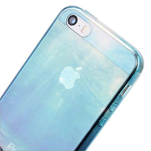 iPhone 5 / 5S / SE Hülle, Yokata Transparent Case Soft Durchsichtig Flexible Weich TPU Silikon Gel Backcover Schutzhülle Cover Skin Klar Protective Cover + Stylus Pen x 1 - Eiffel Meer