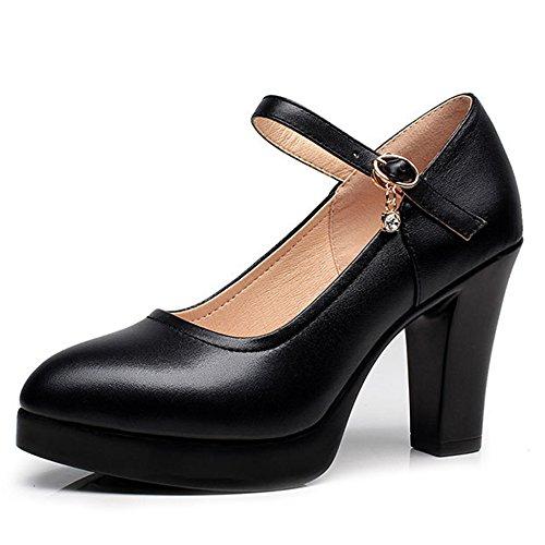 YR-R Damen Closed Toe Heels Starke Ferse Plattformen Damen Arbeitsschuhe Mary Jane Schuhe Frauen OL Karriere Pumpen,Black(5.5cm)-EU:41/UK:7.5