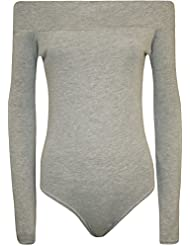 WearAll - Grande Taille Off-épaule manches longues Body Léotard - Hauts - Femmes - Grande Tailles - 44 a 50