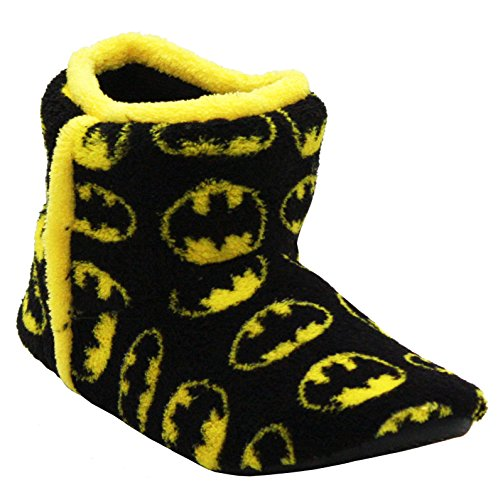 DC Comics Original Boys Youth Black Yellow Slip On Kids Fleece Lined Warm Novelty Batman Ankle Bootee Slippers Shoes UK Sizes 13-5