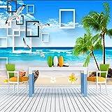 Rivestimento murale 3d della decorazione della parete della spiaggia di film della spiaggia di sabbia del sofà del salone della carta da par Carta Da Parati moderna 3D Fotomurali spiaggia-250cm×170cm