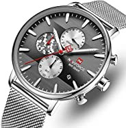 Naviforce NF9169 mens Watch, Analog and Stainless Steel Mesh - NF9169-SB