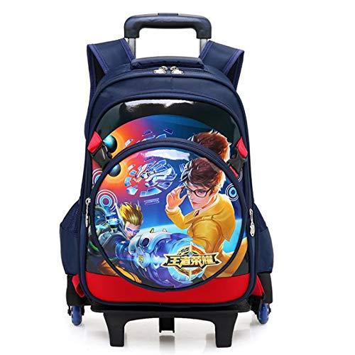 Qp-sb new king glory schoolbag boys trolley zaino per bambini zaino 1-3-6 grado (colore : nero, edizione : two rounds)