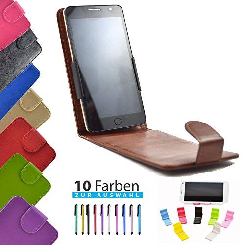 ikracase 4 in 1 Set Hülle Flip Handyhülle für TP-Link Neffos C7A Smartphone Hülle Tasche Case Cover Schutzhülle Handytasche Etui in Braun