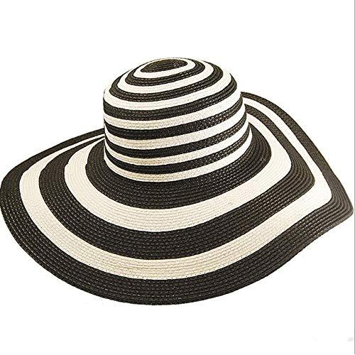 LIXUE Grand Chapeau visière Chapeau Grand Chapeau de Paille Chapeau de Plage été Soleil Chapeau Protection UV Chapeau de Paille Femelle (Color : Black, Size : M(56-58cm))
