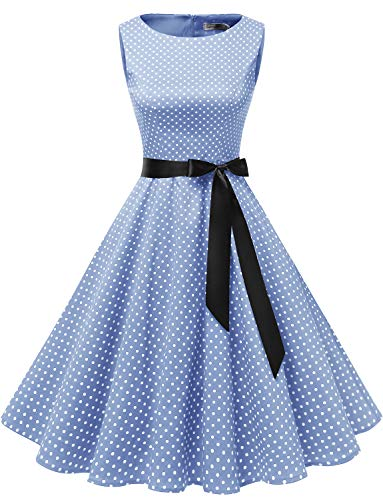 Gardenwed Damen 1950er Vintage Cocktailkleid Rockabilly Retro Schwingen Kleid Faltenrock Blue Small White Dot M