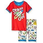 Hatley Boys Short Sleeve Appliqué Pajama Set Pyjama, Spaced Out - Dinos & Aliens Doodles, 3 Years