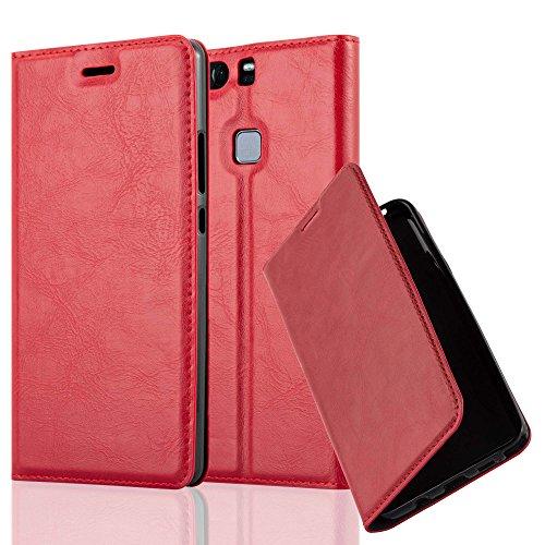 Cadorabo Hülle für Huawei P9 Plus - Hülle in Apfel ROT - Handyhülle mit Magnetverschluss, Standfunktion & Kartenfach - Case Cover Schutzhülle Etui Tasche Book Klapp Style