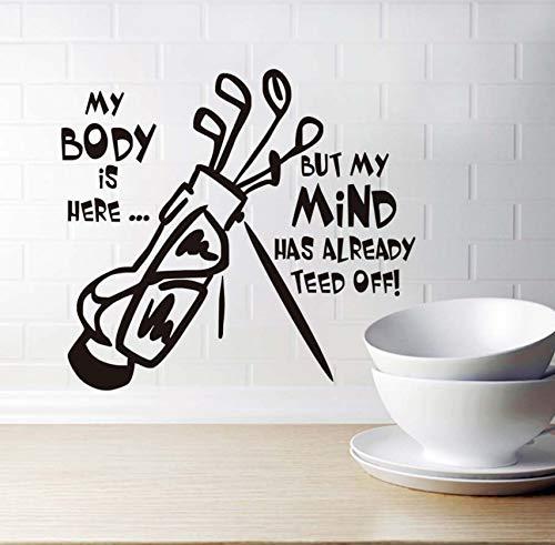 Wandaufkleber,Mein Körper Hier Ha EIN Komplettes Golf-Set Wohnzimmer Abnehmbare Vinyl Kunst Wandtattoo Charakter Dekoration Zubehör 44 * 40Cm -