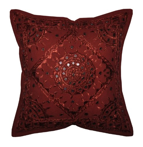 Indian Ethnic Handcrafted Cushion Pillow Cover with Embroidery & Mirror Work Set of 5, 43 X 43 Cm (Maroon)