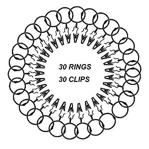 CUKCIC Vorhangringe mit Clips 30 Stücke Gardinenringe Metall Vorhänge Hängende Ringe Clips Duschvorhangringe (38mm-Innendurchmesser, Pures Schwarz)