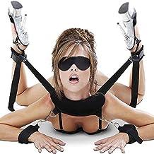 Cksohot® SM Bondage Set BDSM Fesselset SM Sexspielzeug Extrem Betten Fesseln mit Handschellen mit Augenmaske für Paare Gays, für Einsteiger und Erfahrene, für Sex-Spiele - Schwarz