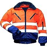 Warnschutz-Piloten-Jacke Arbeits-Jacke - EN 471 Klasse 3 - 4 in 1 Funktion - orange/marine - Größe: XL