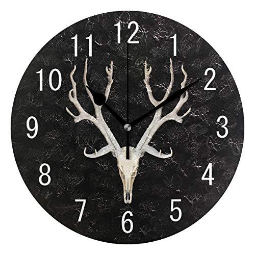 Domoko Home Decor - Reloj de Pared de Calavera de Ciervo, Redondo, acrílico, no se rasga y silencioso, para salón, Cocina, Dormitorio