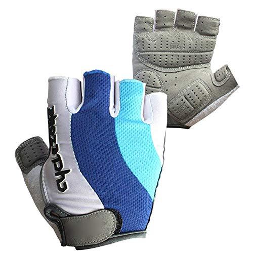 Fahrrad-Handschuhe Halbe Finger Fahrradhandschuhe Anti Slip Outdoor Sports Reithandschuhe atmungsaktiv Resistant Mountain Bikes Handschuhe Blau Weiß 1Pair XXL